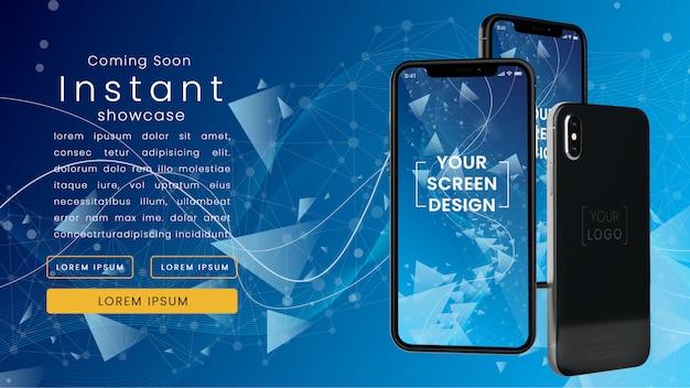 Nowoczesna, pikselowa makieta trzech realistycznych iphoneów x w niebieskiej sieci technologicznej z szablonem tekstowym psd makieta
