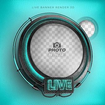 Nowoczesna realistyczna ikona 3d na żywo z neonem i niebieskim siatką