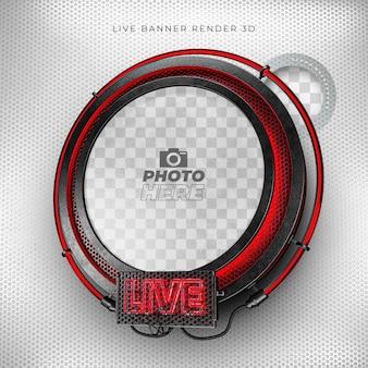 Nowoczesna realistyczna ikona na żywo 3d z neonową i czerwoną i czarną siatką