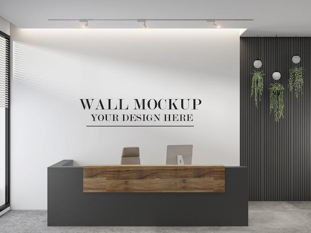 Nowoczesna recepcja w tle ściany