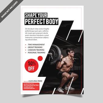 Nowoczesna siłownia fitness szablon ulotki