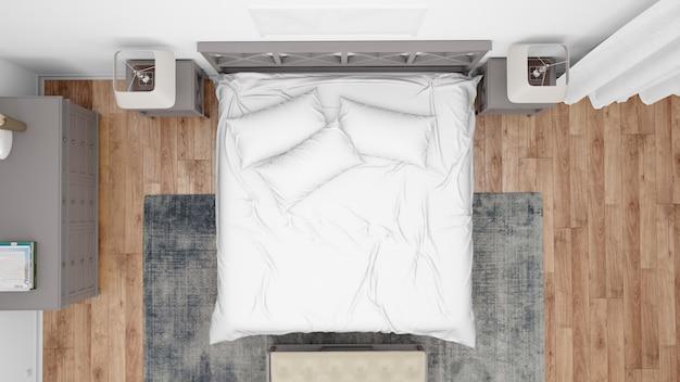 Nowoczesna sypialnia lub pokój hotelowy z podwójnym łóżkiem i eleganckimi meblami, widok z góry
