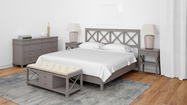 Nowoczesna sypialnia lub pokój hotelowy z podwójnym łóżkiem i eleganckimi meblami