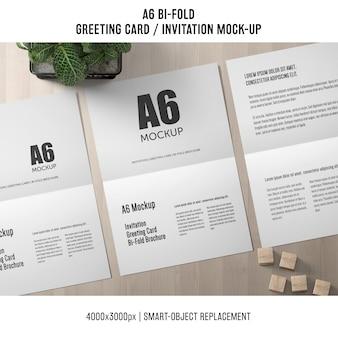 Nowoczesne a6 bi-fold zaproszenie makieta