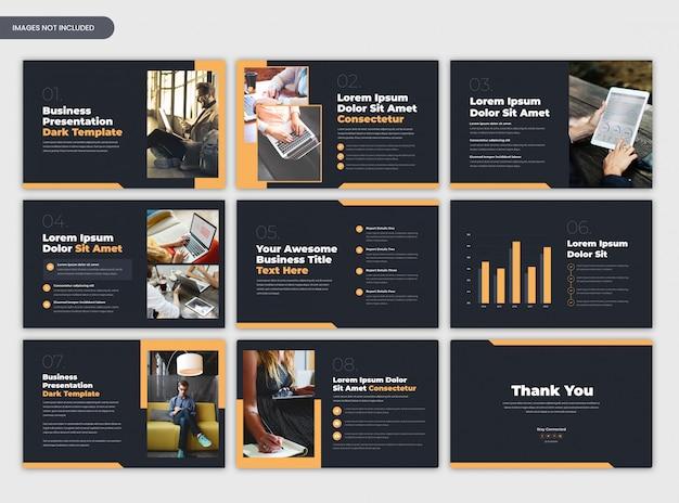 Nowoczesne ciemne broszury firmowe lub szablon prezentacji biznesowych