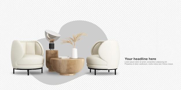 Nowoczesne fotele i wazon na stole w renderowaniu 3d
