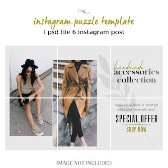 Nowoczesne, kreatywne i stylowe puzzle instagram, siatka, szablon kolażu