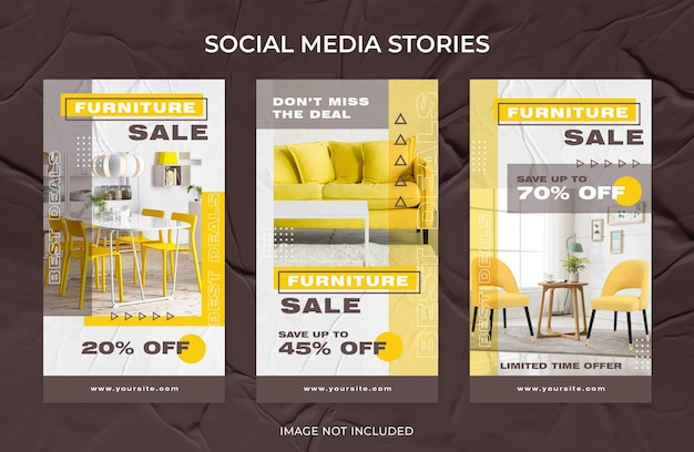 Nowoczesne meble do wnętrz sprzedaż instagram stories szablon mediów społecznościowych