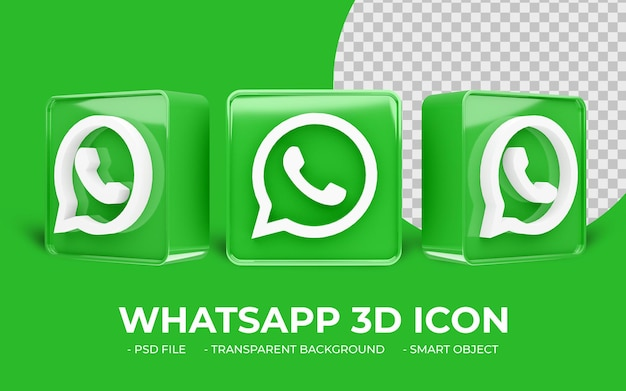 Nowoczesne media społecznościowe logo whatsapp na białym tle ikona 3d