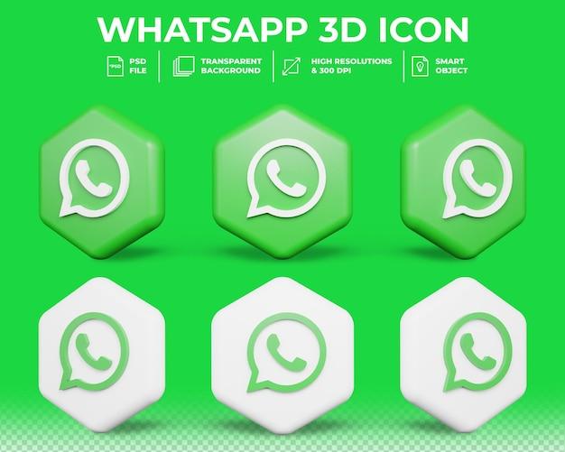 Nowoczesne media społecznościowe whatsapp na białym tle ikona 3d