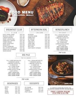 Nowoczesne menu żywności