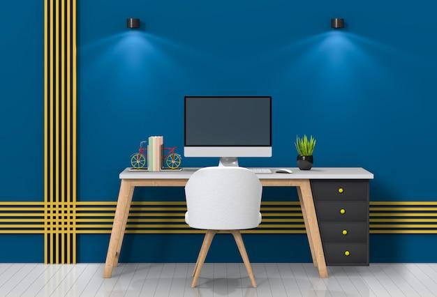 Nowoczesne miejsce do pracy w salonie z biurkiem i komputerem stacjonarnym