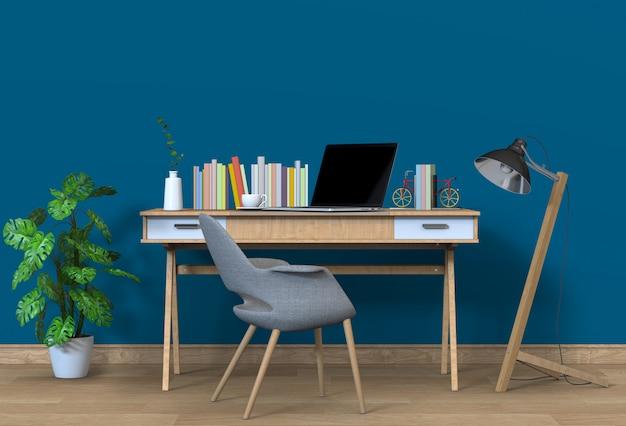 Nowoczesne miejsce do pracy w salonie z biurkiem i laptopem