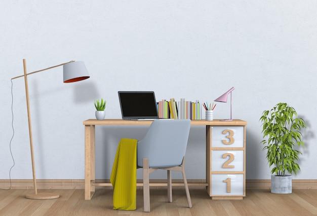 Nowoczesne miejsce do pracy w salonie z laptopem