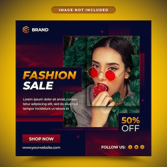 Nowoczesne moda sprzedaż mediów społecznościowych i szablon transparent www