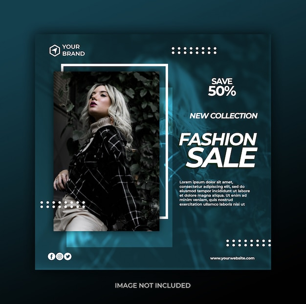 Nowoczesne moda sprzedaż mediów społecznościowych szablon transparent post lub ulotki kwadratowe