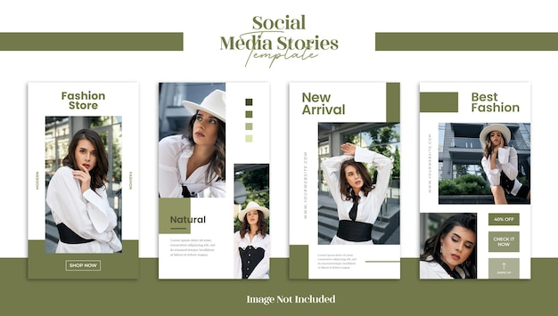 Nowoczesne modowe historie w mediach społecznościowych lub szablon banera internetowego