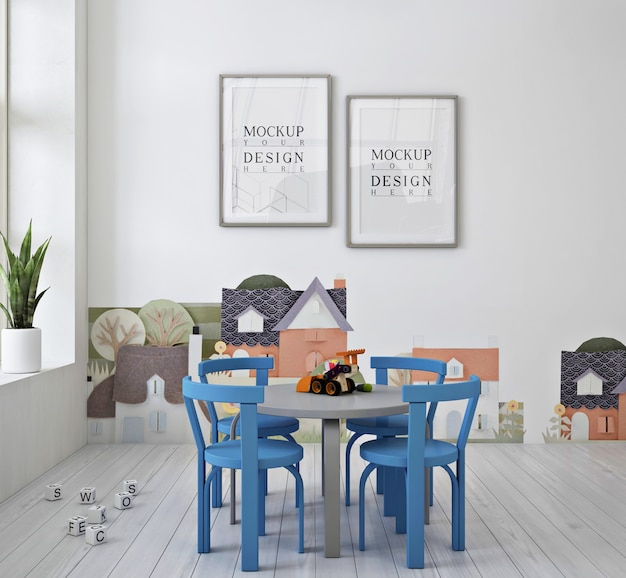 Nowoczesne słodkie przedszkole z makietą plakatu z ramą i niebieskim krzesłem
