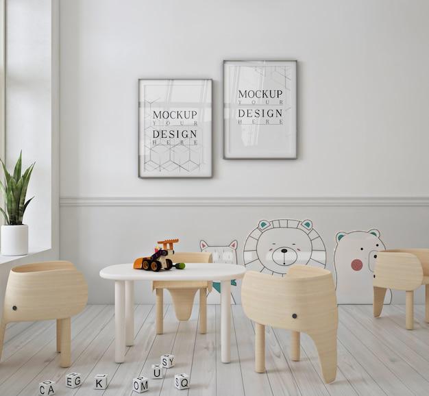 Nowoczesne słodkie przedszkole z makietą plakatu z ramą