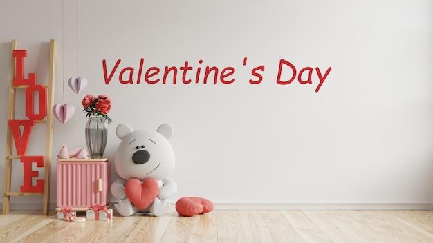 Nowoczesne wnętrze pokoju valentine ma lalkę i wystrój domu na walentynki, renderowanie 3d