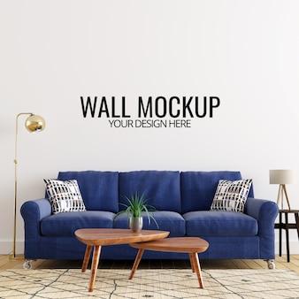Nowoczesne wnętrze salonu ściany makieta tło
