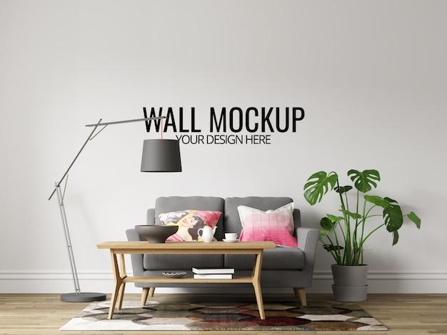 Nowoczesne wnętrze salonu ściany tło makieta z meblami i wystrojem