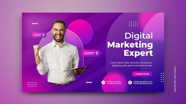 Nowoczesny baner agencji marketingu cyfrowego i szablon postu w mediach społecznościowych psd
