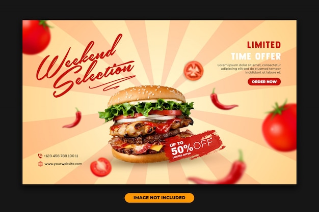 Nowoczesny baner internetowy landing page food template burger