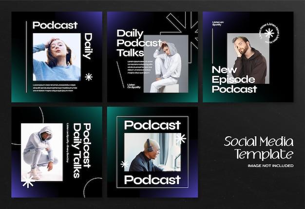 Nowoczesny baner społecznościowy podcastu i szablon postu na instagram