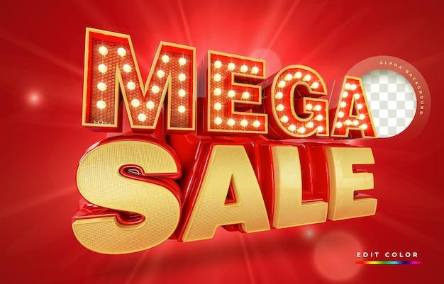 Nowoczesny czerwony i złoty baner 3d mega sprzedaż, szablon promocji.