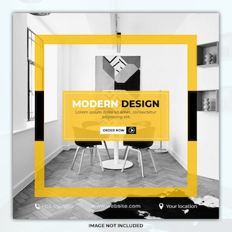 Nowoczesny design meble social media post szablon transparent