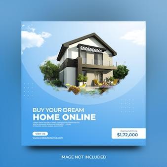 Nowoczesny dom na sprzedaż szablon postu w mediach społecznościowych w promocji społecznej