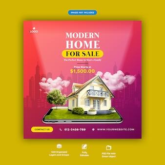 Nowoczesny dom na sprzedaż szablon transparent mediów społecznościowych