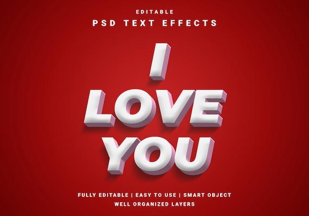 Nowoczesny efekt 3d valentine tekstu