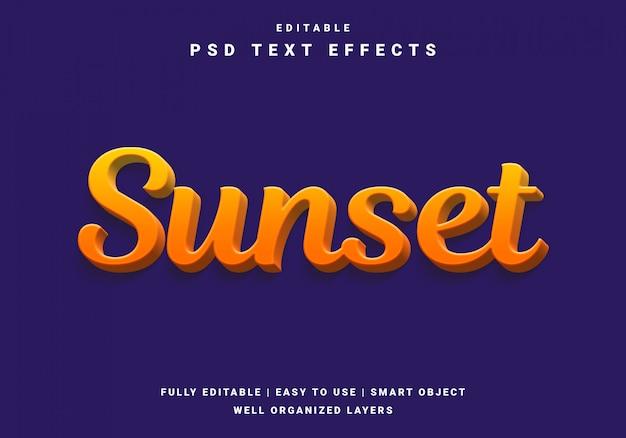 Nowoczesny efekt tekstowy zachód słońca 3d