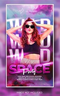 Nowoczesny fioletowy pionowy baner na imprezę muzyczną w mediach społecznościowych