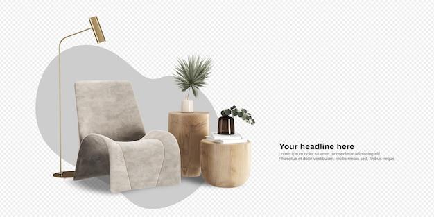 Nowoczesny fotel i dekoracje w renderowaniu 3d