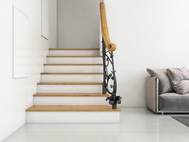 Nowoczesny hol wewnętrzny ze schodami i pustymi ramami
