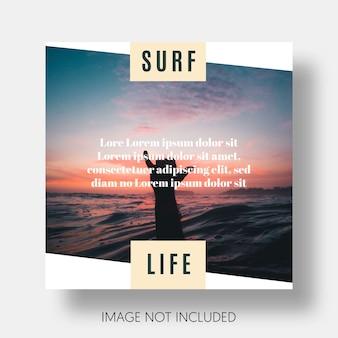 Nowoczesny instagram szablon surfowania