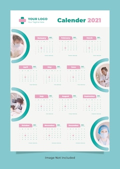 Nowoczesny kalendarz ścienny zdrowia medycznego