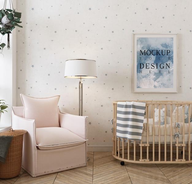 Nowoczesny, klasyczny pokój dziecięcy ze zdjęciem makiety w ramce