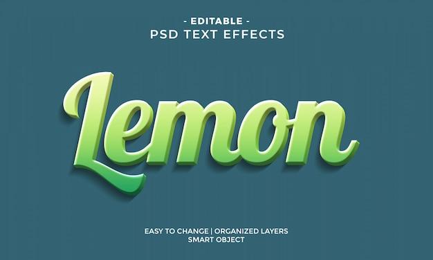 Nowoczesny kolorowy efekt tekstowy cytryny 3d
