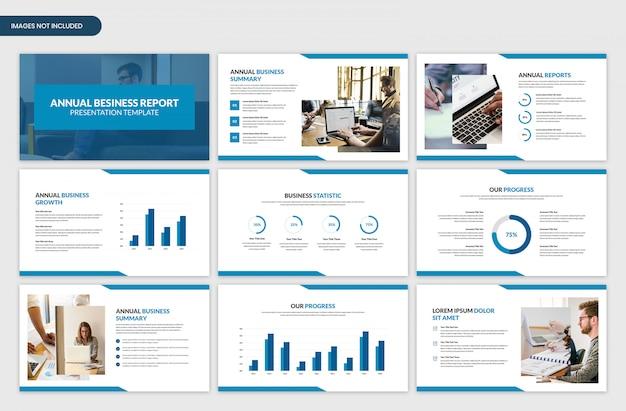 Nowoczesny korporacyjny roczny raport biznesowy prezentuje szablon suwaka prezentacji