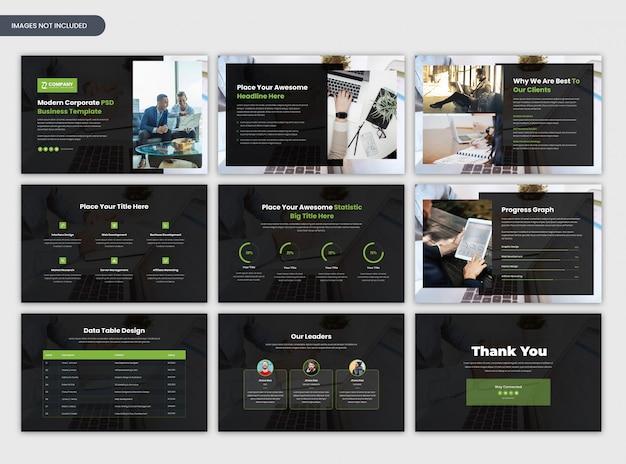 Nowoczesny korporacyjny szablon uruchamiania i prezentacji biznesowych