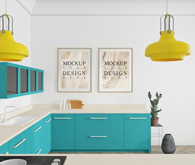 Nowoczesny luksusowy projekt kuchni z plakatem makiety