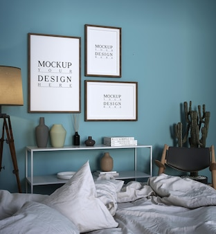 Nowoczesny luksusowy projekt sypialni z makietą plakatu