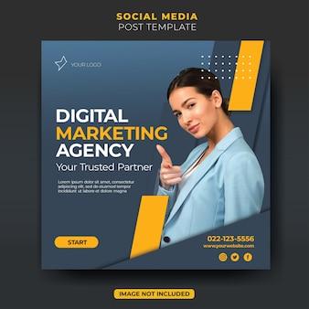 Nowoczesny minimalistyczny szablon postu agencji marketingu cyfrowego