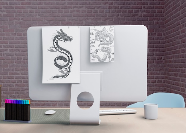 Nowoczesny monitor w biurze wnętrz