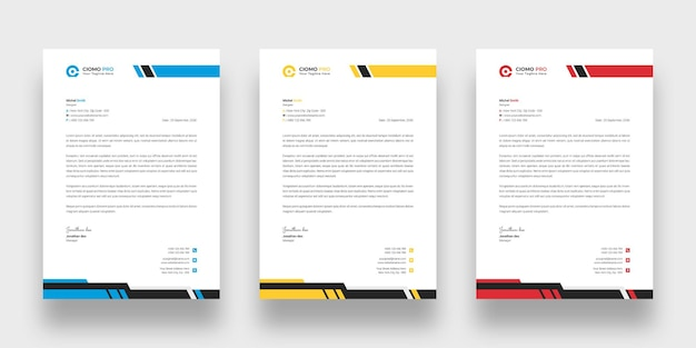 Nowoczesny papier firmowy szablon