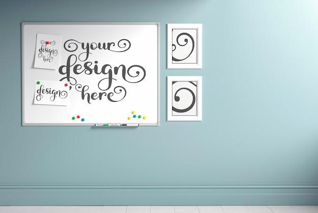 Nowoczesny pokój dziecięcy z zestawem krzeseł i biurkiem, drabiną opartą o ścianę, makieta ścienna, render 3d